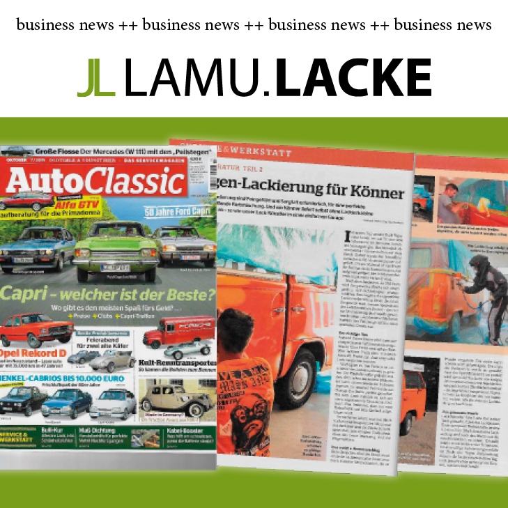 LamuLacke München Logo Smartrepair AutoClassica Cover Titel 07 2019 VW Bus orange unilack